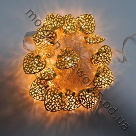 Гирлянда Сердце Золото LED 20