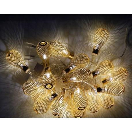 Гирлянда Китайский фонарик Золото LED 20