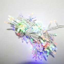 Гирлянда Нить LED 200 мульти, белый провод, конус-рис