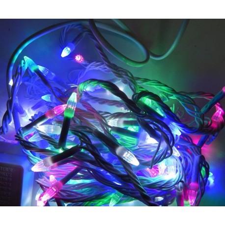 Гирлянда Нить LED 100 мульти, белый провод, конус-рис
